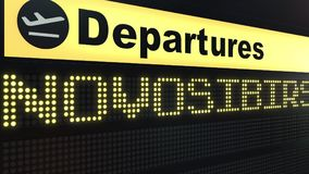 Flight to Novosibirsk on international airport departures board. Travelling to Russia conceptual 3D rendering. Flight to Novosibirsk on international airport Royalty Free Stock Photos