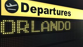 Flight to Orlando on international airport departures board. Travelling to the United States conceptual 3D rendering. Flight to Orlando on international airport Royalty Free Stock Photos