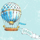 Flight to Paris in air balloon. vector illustration Royalty Free Stock Image