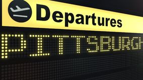 Flight to Pittsburgh on international airport departures board. Travelling to the United States conceptual 3D rendering. Flight to Pittsburgh on international Stock Photography