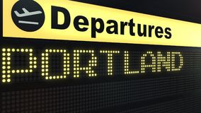 Flight to Portland on international airport departures board. Travelling to the United States conceptual 3D rendering. Flight to Portland on international Royalty Free Stock Photos