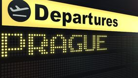 Flight to Prague on international airport departures board. Travelling to the Czech Republic conceptual 3D rendering. Flight to Prague on international airport Stock Photo