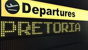 Flight to Pretoria on international airport departures board. Travelling to South Africa conceptual 3D rendering. Flight to Pretoria on international airport Stock Photos