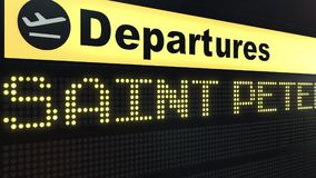 Flight to Saint Petersburg on international airport departures board. Travelling to Russia conceptual 3D rendering. Flight to Saint Petersburg on international Stock Photo