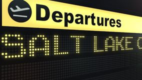 Flight to Salt Lake City on international airport departures board. Travelling to the United States conceptual 3D.  Royalty Free Stock Image