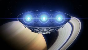 Alien spaceship is approaching Saturn. Bright engines flashing, 3d animation. Texture of the Planet was created in the