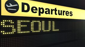 Flight to Seoul on international airport departures board. Travelling to South Korea conceptual 3D rendering. Flight to Seoul on international airport departures Royalty Free Stock Image