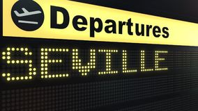 Flight to Seville on international airport departures board. Travelling to Spain conceptual 3D rendering. Flight to Seville on international airport departures Stock Image
