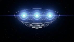 Alien spaceship. Bright engines flashing, 3d animation