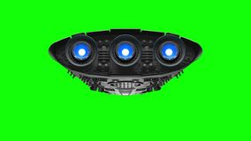 Alien spaceship on green screen. Bright engines flashing, 3d animation.