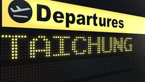 Flight to Taichung on international airport departures board. Travelling to Taiwan conceptual 3D rendering. Flight to Taichung on international airport Royalty Free Stock Images