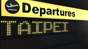 Flight to Taipei on international airport departures board. Travelling to Taiwan conceptual 3D rendering. Flight to Taipei on international airport departures Stock Photos