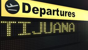 Flight to Tijuana on international airport departures board. Travelling to Mexico conceptual 3D rendering. Flight to Tijuana on international airport departures Royalty Free Stock Photos