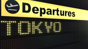 Flight to Tokyo on international airport departures board. Travelling to Japan conceptual 3D rendering. Flight to Tokyo on international airport departures board Stock Image