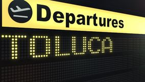 Flight to Toluca on international airport departures board. Travelling to Mexico conceptual 3D rendering. Flight to Toluca on international airport departures Stock Photography