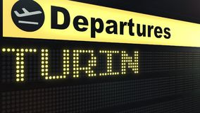 Flight to Turin on international airport departures board. Travelling to Italy conceptual 3D rendering. Flight to Turin on international airport departures board Stock Photo