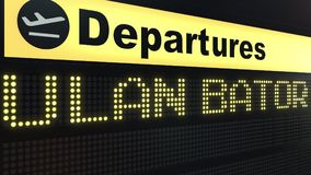 Flight to Ulan Bator on international airport departures board. Travelling to Mongolia conceptual 3D rendering. Flight to Ulan Bator on international airport Royalty Free Stock Images