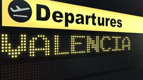Flight to Valencia on international airport departures board. Travelling conceptual 3D rendering. Flight to Valencia on international airport departures board Royalty Free Stock Images