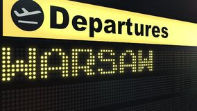 Flight to Warsaw on international airport departures board. Travelling to Poland conceptual 3D rendering. Flight to Warsaw on international airport departures Stock Photography
