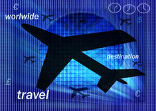 Flight to worlwide. Planes and differents elements illustrating the travel through the planet Stock Images