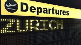 Flight to Zurich on international airport departures board. Travelling to Switzerland conceptual 3D rendering. Flight to Zurich on international airport Royalty Free Stock Image