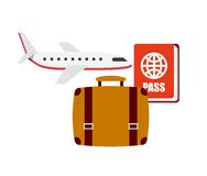 Flight travel set icons Stock Image