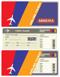 Flight trip for a flight to Armenia. With the service envelope Royalty Free Stock Image