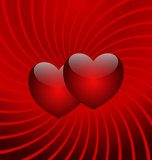 Flight of two hearts. Two red hearts on a red background Royalty Free Stock Photography