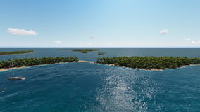 Flight under the ocean with yachts sailing. Near tropical islands. Three dimensional rendering animation stock video