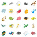 Flight vehicle icons set, isometric style. Flight vehicle icons set. Isometric set of 25 flight vehicle vector icons for web isolated on white background Royalty Free Stock Photos