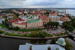 Flight. View of the city of Vyborg from the castle Royalty Free Stock Photos