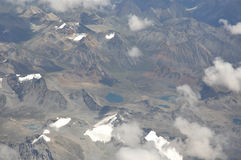Flight view of Qinghai-Tibet Plateau Royalty Free Stock Image