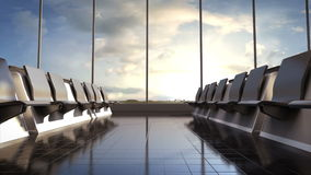 Flight waiting hall. lounge, daytime. 3D rendering. stock video footage