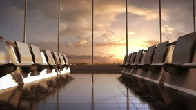 Flight waiting hall. lounge, sunset. 3D. stock video