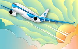 The flight of a white passenger liner. The turquoise sky, the bright sun and colorful cumulus clouds. The effect of cut paper. vector illustration