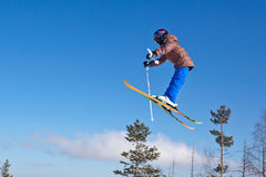 Flight of young skier Stock Images