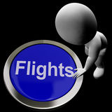 Flights Button For Overseas Vacation Or Holidays. Flights Button For Overseas Vacations Or Holidays Stock Photo