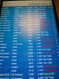 Flights Cancelled -- Arrivals board with flight ca Stock Image