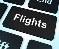 Flights Computer Key For Overseas Vacation Or Holiday Booking Royalty Free Stock Photography