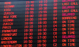 Flights departure  timetable Royalty Free Stock Images