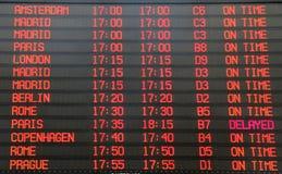 Flights departure  timetable Stock Image