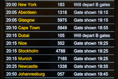 Flights departures board Royalty Free Stock Photo