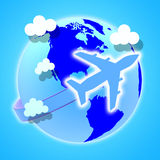 Flights Global Means Travel Guide And Worldly Royalty Free Stock Photo