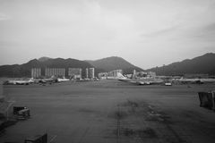 Flights in Hong Kong International Airport Royalty Free Stock Image