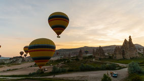 Flights on hot air balloons stock video