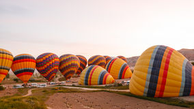 Flights on hot air balloons stock footage