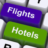 Flights And Hotel Keys For Overseas Vacations Stock Images