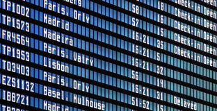 Flights information board at airport Stock Photography