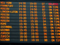 Flights information board in an international  airport terminal Royalty Free Stock Photo