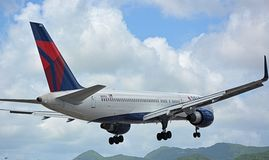 Flights over St. Marteen. Airplanes Stock Images
